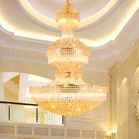 Lampadari in cristallo moderno LED Lampadario in oro Apparecchio americano europeo 3 colori chiari Dimmerabile Lampade a sospensione