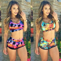 Wholesale Swimwear Sexy Coconut Tree Print Yellow And Purple...