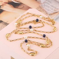 Brand name Pearl beads sweater chain necklace and shell shap...