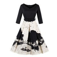 Women' s Audrey Hepburn Style Swing Rockabilly Dress Pin...