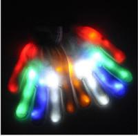 Levou luz intermitente luvas do arco-íris mostra o dia das bruxas cosplay fantasmas luva luvas colorido LED Light Up brinquedo Halloween Rave Dance Party Fun
