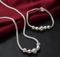 2017 nuovo modo Mark 925 placcature d'argento della maglia catena cavo tallone collana del braccialetto uomo donna amanti braccialetto gioielleria collana set