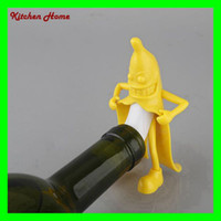 Funny Banana Shaped Wine Stopper Novelty Little Man Bar Bott...