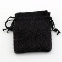 Caldo ! 50pcs 10x14 cm tessuto in lino nero sacchetti con coulisse sacchetti di gioielli regalo di caramelle di tela da imballaggio borse di iuta