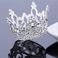 Nuovo arrivo corona completa corona di capelli pettine diadema di cristallo strass diadema diademi e corone fiore ragazze capelli gioielli prom spettacolo pageant