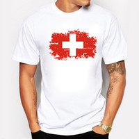 T-shirt da uomo Fashion Nostalgic Switzerland National Flag Top T-Shirt manica corta a vita bassa Tee