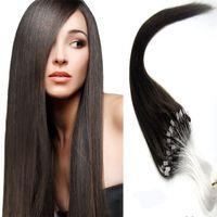 Loop micro anel de extensão do cabelo 100 faixas / Pacote 16-24 polegada pré-ligado micro loop extensões de cabelo transporte rápido em estoque
