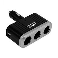 3 웨이 담배 라이터 소켓 분배기 12V / 24V DC 전원 자동차 어댑터 2 USB 포트