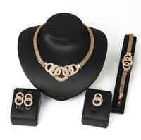 18k cadeia de ouro nupcial do casamento conjunto de jóias de cristal de luxo strass pulseira colar de anel do parafuso prisioneiro brincos mulheres festa de jóias