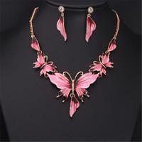 DHL Opulente Halskette Ohrring-Silber-Schmuck-Set Art und Weise elegante Buterfly Halsketten-Partei-Kragen-Schmucksachen für Hochzeit Frauen Mood Epoxy Stil