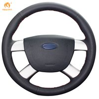 Mewant Black Genuine Leather Car Steering Wheel Cover for Fo...