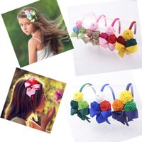 DROP SHIPPING 7colors three- rose Baby Girl hair bows hair ac...
