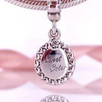 Authentic 925 Sterling Silver Sweet Sister Dangle Charm Fit DIY Pandora Bracelet 791126CZ