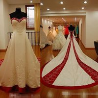 2017 Vintage Red and White Embroidery Plus Size Wedding Dres...