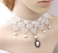Elegante collare collana di perle pizzo abito da sposa bianco nappa della catena del maglione di natale 24pcs / lot del regalo delle donne