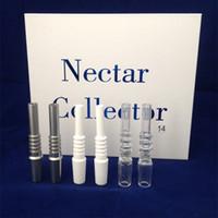Nectar kits coletor de vidro do tipo ponta de cerâmica 14 milímetros tubos conjunta para Nectar Collector Happywater Kit Domeless Concentrado Nails DHL livre para EUA