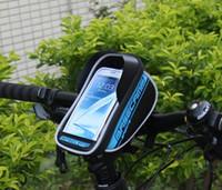 Bolsas de bicicleta Paquetes de ciclismo de tubo frontal de bicicleta Paquetes de ciclismo, bolsa de marco de ciclismo Soporte para teléfono para iPhone 6 6plus por debajo de 5.5 pulgadas Bolsas delanteras