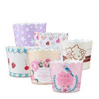 Mini carta cupcake bicchieri da forno tazze muffin torta tazze alimentari grade gradazione bianco cartone bianco ad alta temperatura tazze di bicarbonato 50 pack