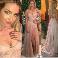 Lace Evening Dressess Long 2017 Long Sparkly Sequins Backless Spaghetti Straps High Split Evening Gowns Tulle vestido longo