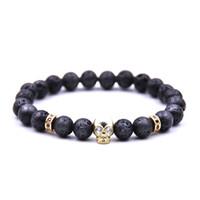 Naturel Lava Stone Crâne Crystal Crystal Strands Bracelets Reiki Chakra Perles de guérison pour hommes Femmes Charme Bijoux de Yoga