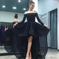 Black Full Lace High Low robes de bal élégant épaule manches longues robe de soirée Simple Custom Made A-line Occasion spéciale