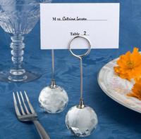 100 sztuk / partia Wedding Favor Kryształ Diament Ball Place Posiadacze Karty Posiadacze Wesele Numbers Uchwyt Party Decor Darmowa Wysyłka