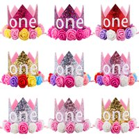 Hot New Baby One Compleanno Sparkly Party Crown Artificiale rosa e cremoso rosa fiori Tiara Fascia HJ146