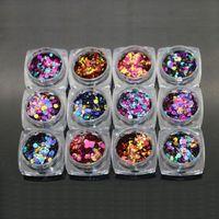 Горячая распродажа !!! Профессиональный 12 шт. / компл. DIY ногтей советы наклейки акриловые 3D круглый блеск блестки маникюр украшения