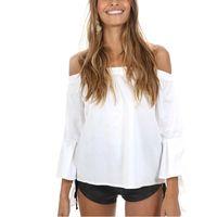 여성 섹시한 슬래시 넥 나비 슬리브 셔츠 어깨 주름 장식 3 분기 슬리브 블라우스 여름 캐주얼 탑 블러셔
