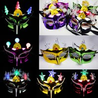 Mascarilla de belleza brillante de galvanoplastia LED Mascarada Partido Máscaras Princesa Moda Mujer Medio Face Marks Halloween Navidad Decoración