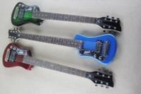 Personalizado canhota guitarra Hofner Baixinho viagem guitarra Protable Mini elétrica com algodão Gig Bag (verde escuro / vermelho metálico / azul metálico)