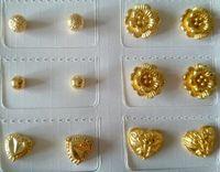 도매 꽃 스터드 귀걸이, 24K 금은 고전적인 2014 여성 결혼 또는 매일 보석 무료 배송 도금