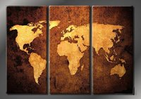 Framed Hot Sell 3 panels World Map, Pure Handpainted Huge Mo...