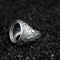 Art Nouveau Antiqu 15X17MM овальный кабошон Semi Маунт 925 стерлингового серебра Кольцо Мужчины Fine Silver Jewelry Установка подарки дня Святого Валентина