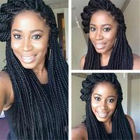 """마이크로 여성 (14)에 대한 아프리카 계 미국인 꼰 가발 가발 브레이드 """"합성 가발 긴 직선 머리 꼰 레이스 프런트 가발 상자 머리띠 가발 레이스"""