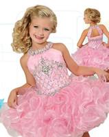 Moda Glitz Cupcake Kızlar Pageant Elbiseler Inci Pembe Çiçek Kız Elbise Düğün Doğum Günü Partisi Abiye Mini Custom Made