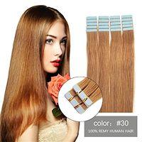Cinta Remy sin costuras en extensiones de cabello cabello humano real 18 '' - 26''40pcs 2.5 g / pieza Straight # 30 Cinta Auburn medio / liviana en piel Trama del pelo