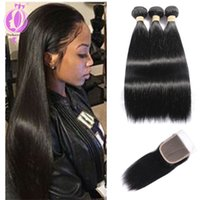 Malaysian hair straight with closure, Unprocessed 3 Bundles w...