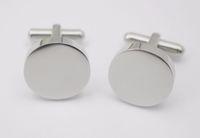 4mm kalınlığında yuvarlak kol düğmeleri Özel logo Tasarım Düz Gümüş Renk Yuvarlak Kol Düğmeleri Erkekler Kadınlar Için Paslanmaz Çelik Takı hediyeler