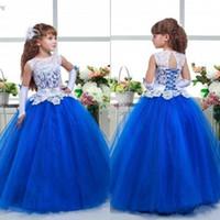 Incroyable 2017 dernières robes Pageant pour les adolescents Jewel Neck White Lace Covered Bodice Royal Blue Organza robe de bal jupe fille robes formelles