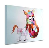 Dibujos animados animales imagen pintura en lienzo pintado a mano caballo arte de la pared para el hogar decoración de la pared sin marco