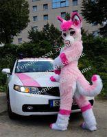 Custom Pink Fursuit Husky Wolf Fox Mascot Costume Costume Animale Suit Halloween Natale Compleanno completo Puntelli per il corpo Costumi Costumi
