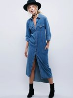 2017 autumn new denim long dress women' s hot denim dres...