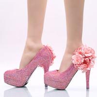 2019 recién llegado vestido de mujer hermosa de tacón alto rosa AB color flor cristal zapatos de fiesta de boda banquete hecho a mano bombas nupciales tamaño 12