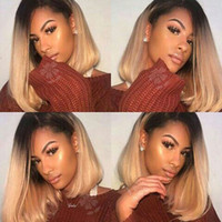 Synthetic Lace Front Wig Ombre Blonde Straight Short Bob wig...