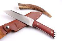 OFFERTA SPECIALE 100% originale cinghiale di cinghiale sopravvivenza coltello da caccia dritto 9CR18MOV 58hrc Blade raso coltelli a lama fissa coltelli con guaina in pelle