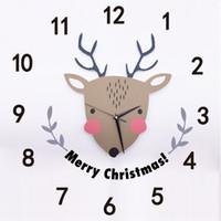 Etiqueta engomada de la pared del PVC 3D Reloj de cuarzo de los ciervos de la Navidad de la historieta para la habitación de los niños Decoración del festival Tatuajes de la pared Feliz Navidad