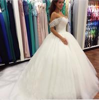 Nuove perline cristallo fuori dalla spalla Sweetheart pizzo bianco abiti da sposa abiti da sposa per spose abiti da sposa gonfia