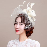 Fascinator bridal headpiece wedding veils with feather weddi...