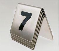 2017 Nuova tabella di segno di tavolo in acciaio inox Display a doppia faccia Ristorante di nozze Hotel Cafe Bar Place Carta di numero di tavolo di carte digitale 10pcs